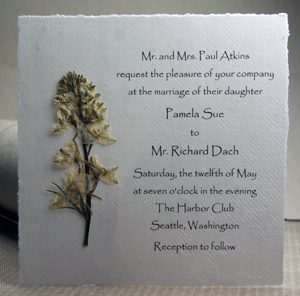 Square Handmade Paper Invitation with pressed flower stem