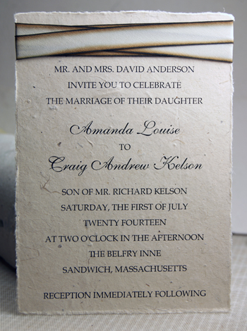 5x7 lotka invitation with silk ribbon