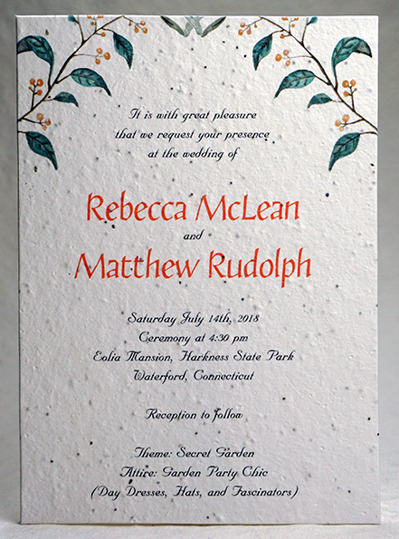 peach berry print seed paper invitation 5x7