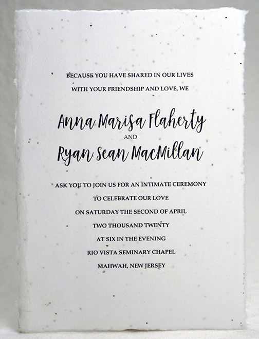 deckle edge seed paper invitation 5x7