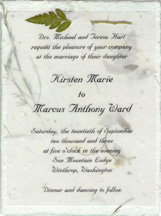 cotton fiber invitation with vellum and leather fern