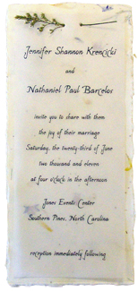 cotton paper invitation with vellum and misty attachment