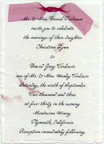 "Click to order 5"" x 7"" Handmade Invitation with Organdy Bow"