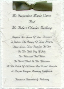 panel invitation with silk ribbon