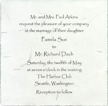 square handmade invitation