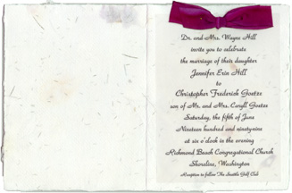 invitation with silk ribbon