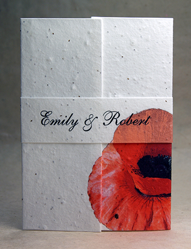 invitation with poppy handmade paper invitations