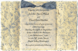 "6""x9"" blue garden invitation with spruce big bow"