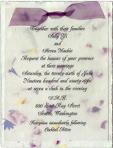 panel invitation with organdy ribbon