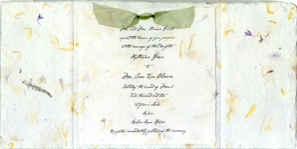 6x9 Open shows the printed vellum and the organza ribbon attachment