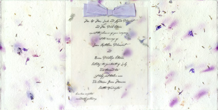6x12 bifold invitation with silk ribbon