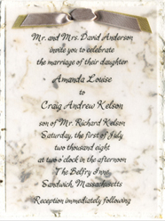 cotton paper invitation with double ribbon tie