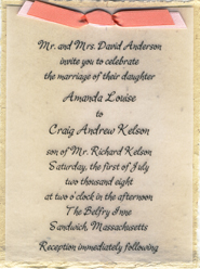 lotka fiber invitation with double ribbon tie