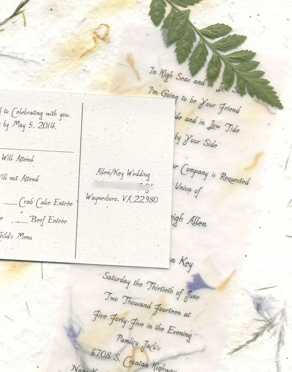 handmade paper invitation