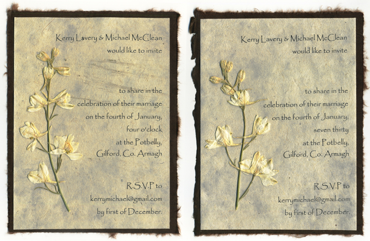 recycled paper invitation with rustic torn edges and floral accents of the earth paper and. Black Bedroom Furniture Sets. Home Design Ideas